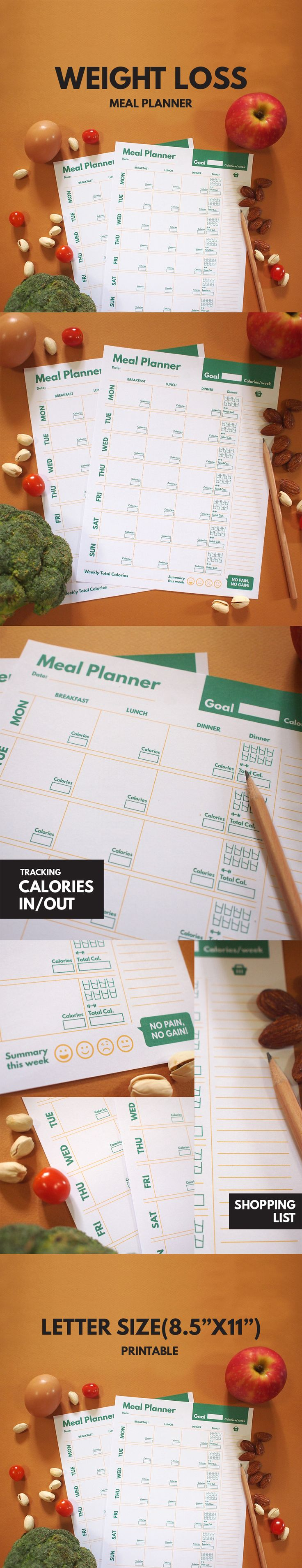 Weight Loss Meal Planner Printable, Diet Planner, Weekly, Groceries List,  Goal Planner, Healthy Planner, Calories Tracker, PDF, GetWellPlan Part 77