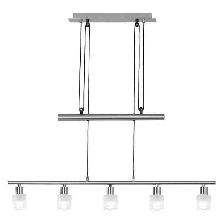 Lampada a sospensione Lea - Metallo/Vetro Color argento 5 luci