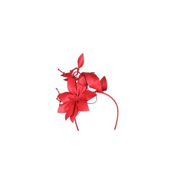 Morgan Taylor Red Faux Leather Flower Asymmetric Headband ❤ liked on Polyvore featuring accessories, hair accessories, headband fascinator, red fascinator, red fascinator hat, red headband and flower fascinator