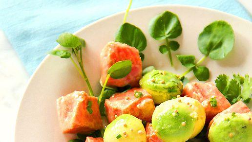 Marinated Salmon with Avocado, Watercress & Mustard Seeds | Recipe