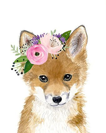 Floral baby fox, Watercolor fox, Woodland Nursery Art, Animal art, Fox cub, Animal Wall Art, Childrens Wall Decor, Kids poster, fox painting