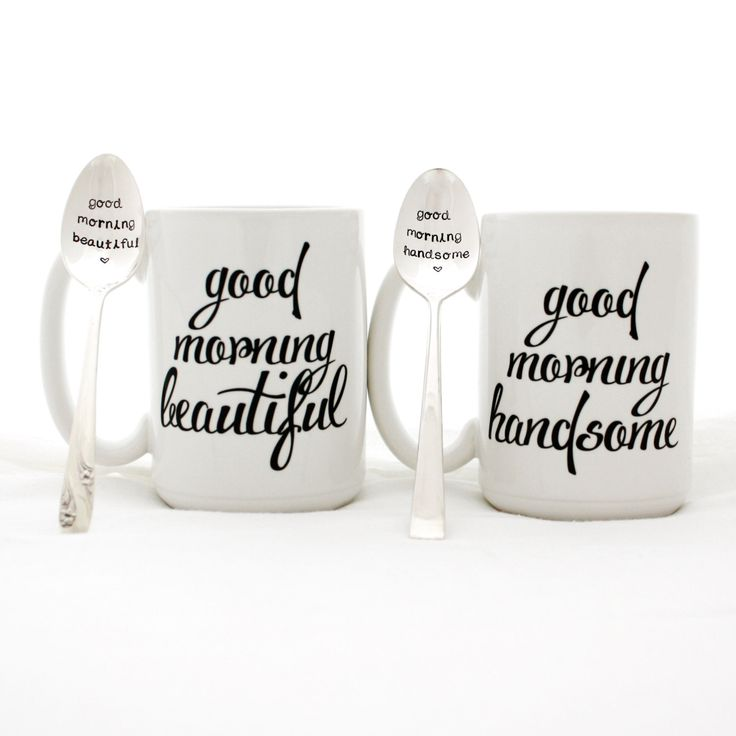 """Hand stamped spoon and coffee mug set, """"Good Morning Beautiful"""" and """"Good Morning Handsome"""". milk and honey, anniversary gift, couples gift"""