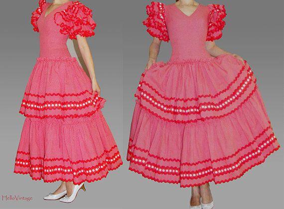 Flamenco dress red with white polka dots dancing von HalloVintage