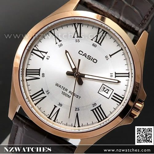 Casio Rose Gold Leather Strap Quartz Mens Watch MTP-1376RL-7B, MTP1376RL