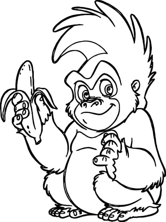 Monkey Coloring Pages Cute With Banana Hard In 2020 Monkey Coloring Pages Minion Coloring Pages Cartoon Coloring Pages