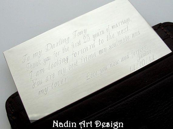 Einsatz-Karte für Brieftasche.Geschenk mit Gravur  von NadinArtDesign auf DaWanda.com