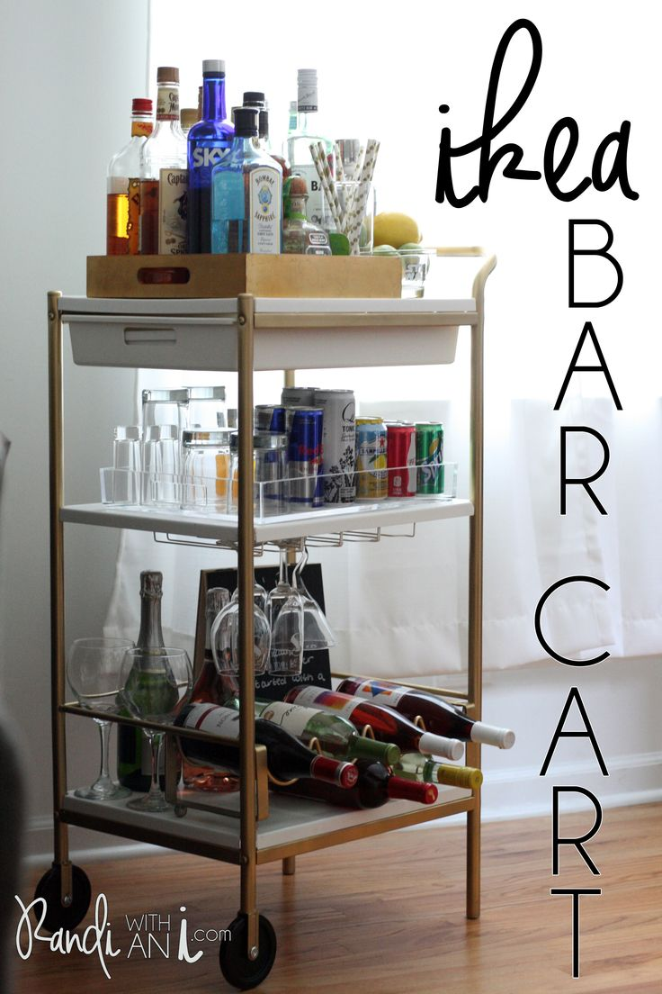 DIY: Gold Ikea bar cart hack! Gold spray paint and a few styling details make it super easy, cute and cheap.