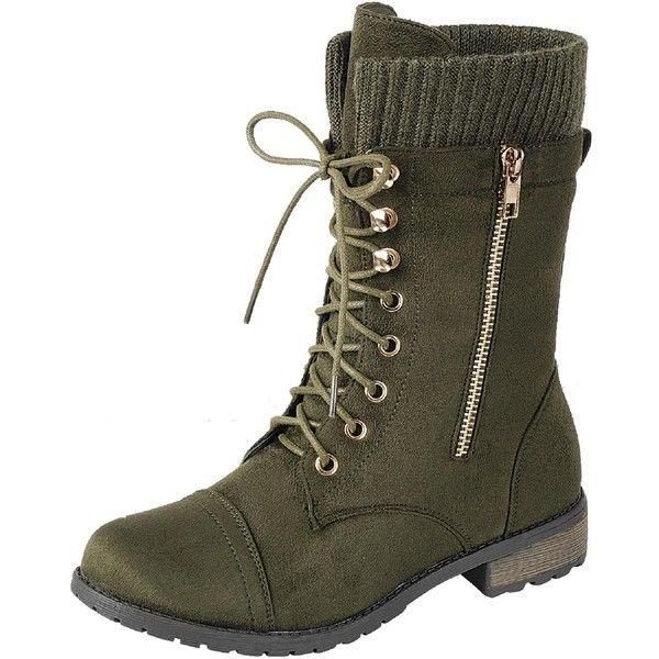 Women's Mata Shoes Womens Round Toe Military Lace Up Knit Low Heel... (£28) ❤ liked on Polyvore featuring shoes, boots, green, small heel shoes, round toe shoes, knit shoes, laced up shoes and combat shoes