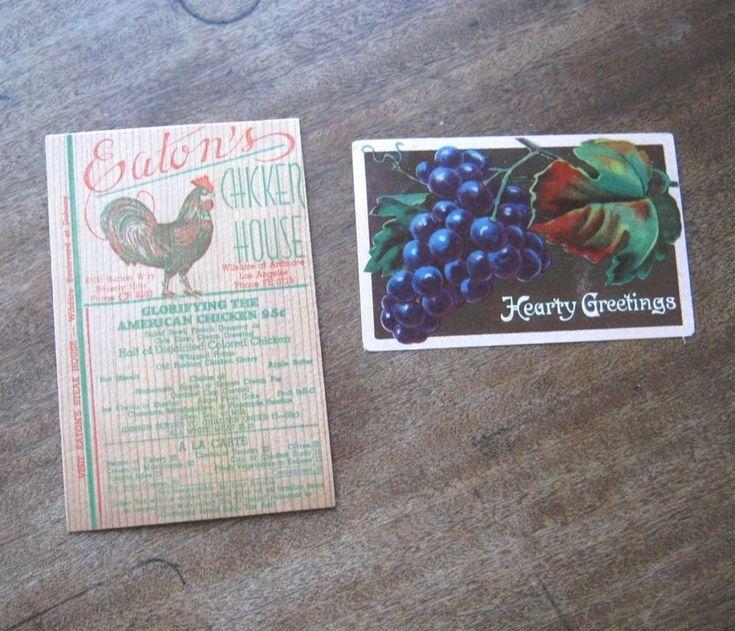 Vntg Los Angeles Restaurant Eaton's Chicken House Wood Menu Card+Grape Postcard  #EatonsChickenHouse