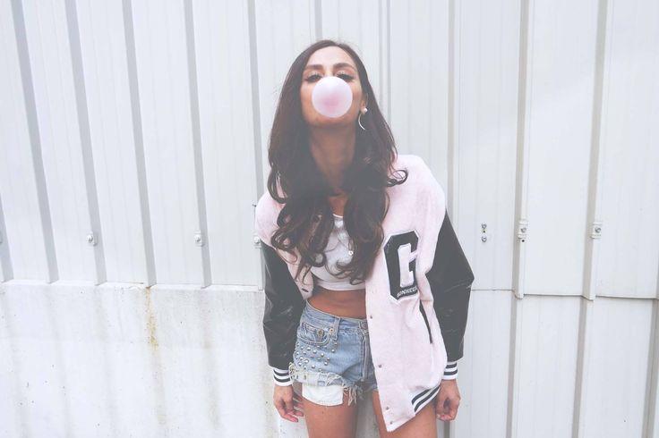 Gaelle Bonheur Paris Sugababe//Marie Zamboli//Gaelle #jacket #moodpeluches Bomber   Available here: http://bit.ly/1uJ9Tmn street look style