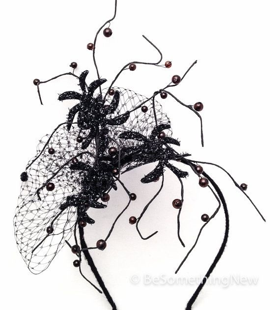 spider fascinator. Halloween costume, Halloween accessory hair