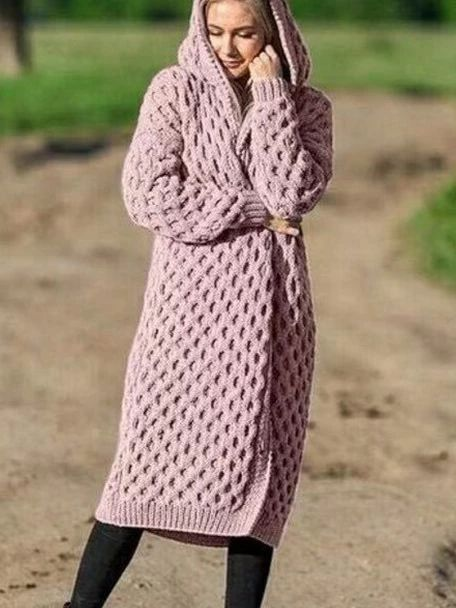 Solid Color Long Knit Hooded Cardigan Coat