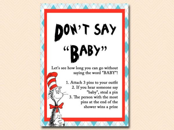 Dont Say Baby Dr Seuss Baby Shower, Cat In The Hat Baby Shower