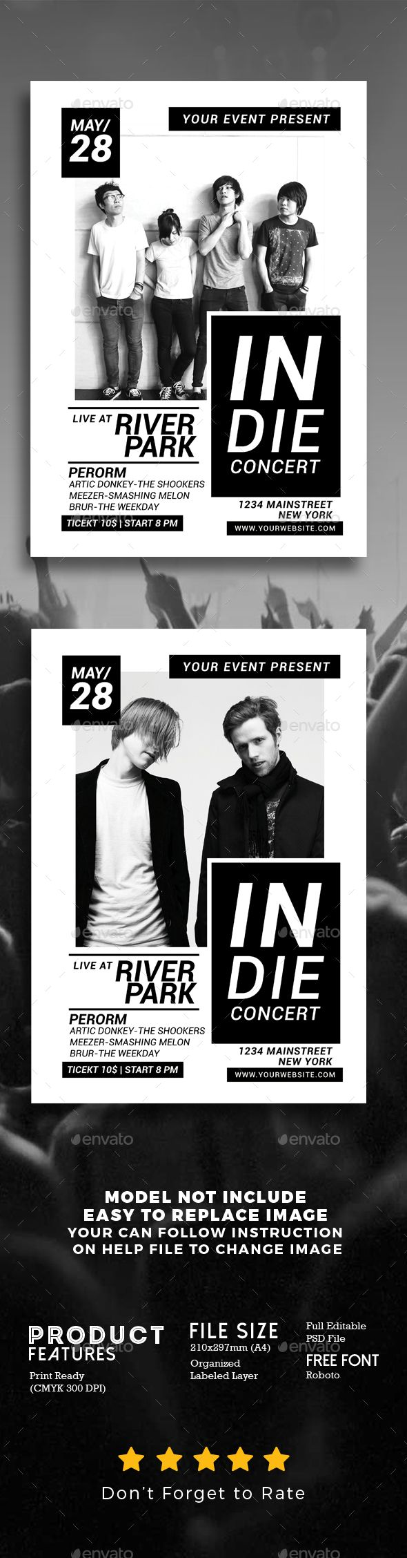 Indie Music Concert Flyer Template PSD