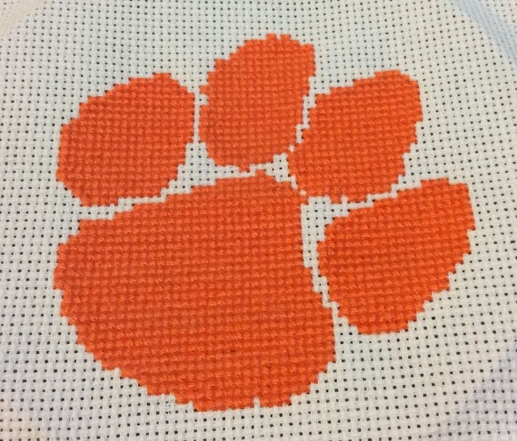 Clemson Tiger Paw Finished Cross Stitch by SCSassySouthernBelle on Etsy https://www.etsy.com/listing/233712591/clemson-tiger-paw-finished-cross-stitch