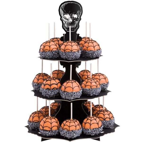ALZATINA IN CARTONE 3 PIANI TESCHIO HALLOWEEN per 24 cupcakes Dim. 30,4 cm x h 43 cm WILTON