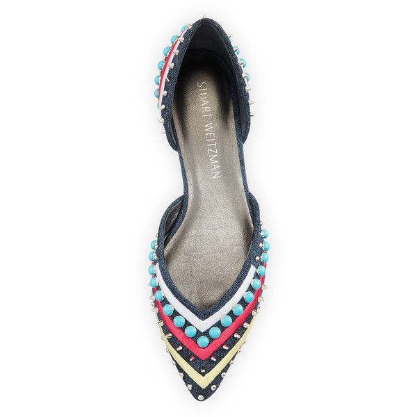 Stuart Weitzman Sugardots Embellished Denim d'Orsay Flat ($498) ❤ liked on Polyvore featuring shoes, flats, flat d orsay shoes, embroidered flats, pointy-toe flats, flat pointed toe shoes and studded shoes
