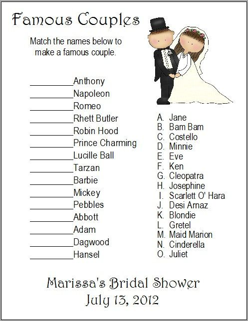 24 Personalized FAMOUS COUPLES Bridal Shower Game. $7.00, via Etsy.