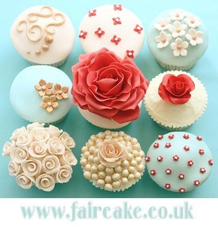 Wedding cupcakes - Wedding - Coral and Blue - Pearls - Flowers  @Beth J Wells