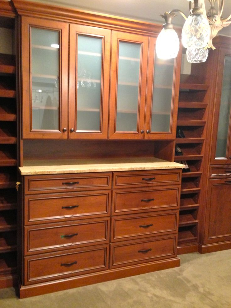 This hutch is the crowning jewel of this master walk-in closet.