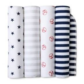 Welcome your future athlete home with the Navy Home Run Flannel Baby Blankets from Cloud Island™. These super soft cotton baby blankets will feel so good against your little all-star's smooth skin, and you can feel good knowing they're free from harmful substances. The four pack comes in classic red, white, blue and gray colors with stars, stripes and baseball patterns, so these flannel blankets will be at home in a sports themed nursery or wherever you are on the go.<br&g...