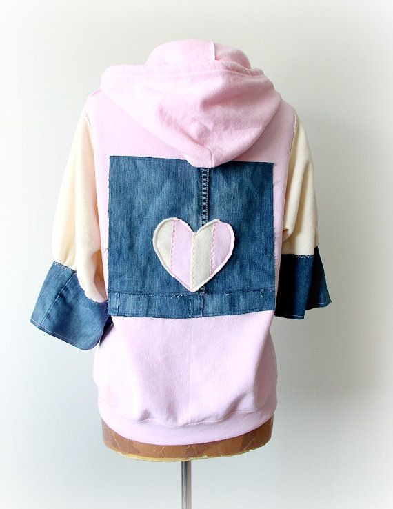 Pink Upcycled Hoodie Hooded Zipper Jacket by BrokenGhostClothing
