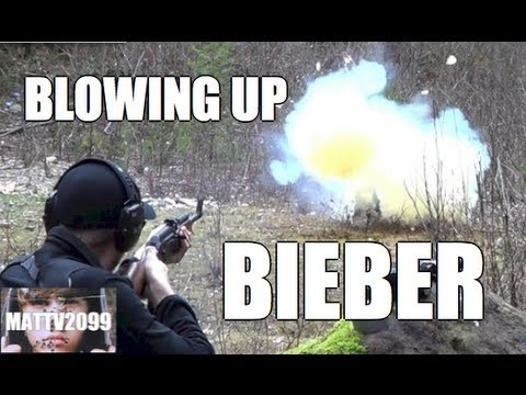 Blowing Up Bieber (cardboard cutout with 1 pound of Tannerite)    Facebook  http://www.facebook.com/matthewjamesbeast  Twitter      http://www.twitter.com/mattv2099  Youtube    http://www.youtube.com/mattv2099    BEST COMEDY VIDEOS:  Red Jello Glock: http://youtu.be/8CvK70t1sjk  AK-47 Fruitecake: http://youtu.be/TEWAbN938Ro  600 round Glockazine: http://...