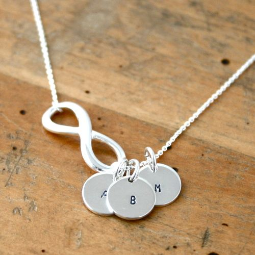 Infinity necklace with initials. Great gift for mom or grandmother.