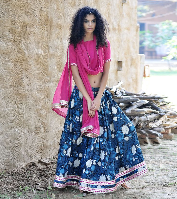 Indigo and pink floral ghagra set