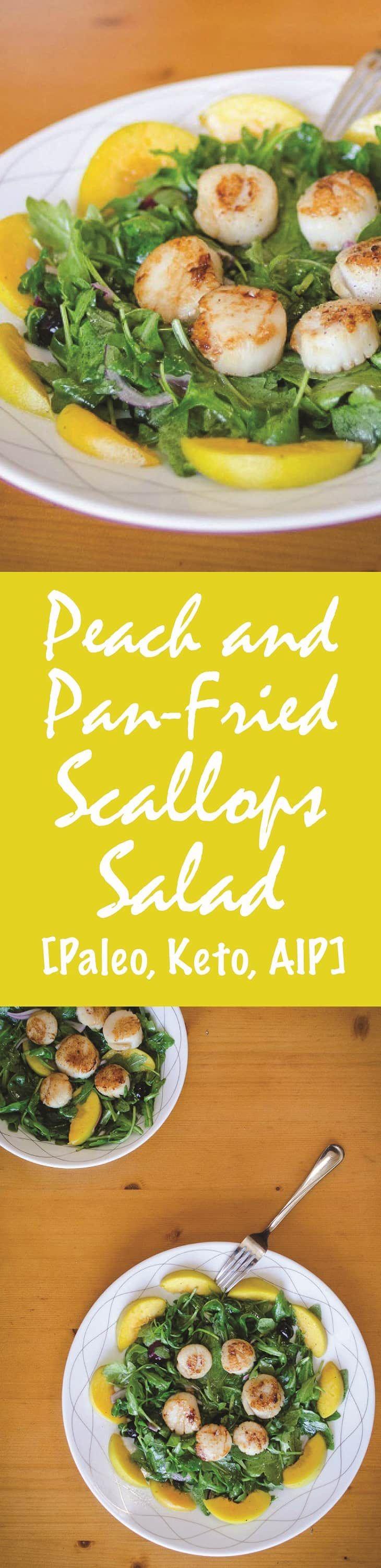 Peach and Pan-Fried Scallops Salad Recipe [Paleo, Keto, AIP] #paleo #keto #aip #recipes - http://paleomagazine.com/peach-pan-fried-scallops-salad-recipe