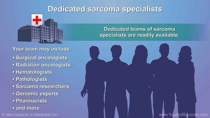 If you are diagnosed with soft tissue sarcoma, you will have your  health care team  working on your behalf. This team may include your cancer doctor and other specialists.slide show: diagnosing and treating soft tissue sarcoma. if you have a noticeable and unusual lump that isn't going away, bring this to your doctor's attention right away. the only reliable way to determine whether a tumor is benign or malignant is through a surgical biopsy. during this procedure, a doctor makes an…