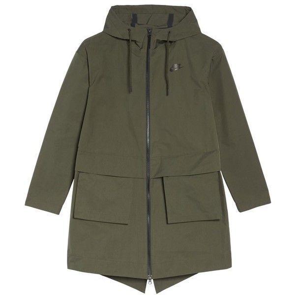 Women's Nike Sportswear Shield Parka (560 SAR) ❤ liked on Polyvore featuring outerwear, coats, nike coat, shrug cardigan, nike parka, parka coat and nike
