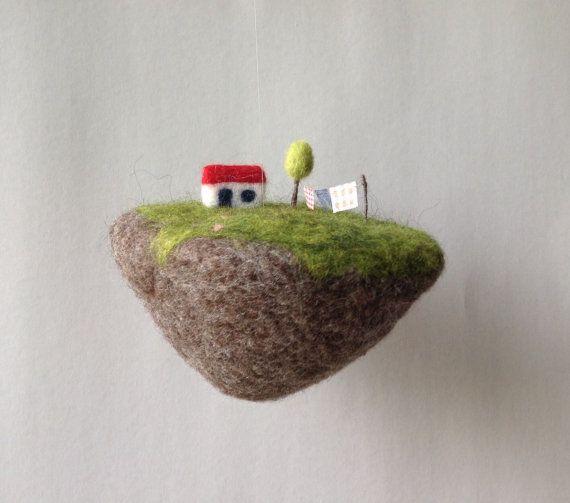 schwimmende Insel mobile Nadel Filz von lovebluecats auf Etsy