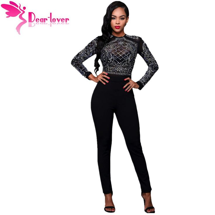 Dear Lover Jumpsuit Women Autumn Overalls Sexy Black Long Sleeves Rhinestone Mesh Bodice Formfitting Rompers Long Pants LC64168
