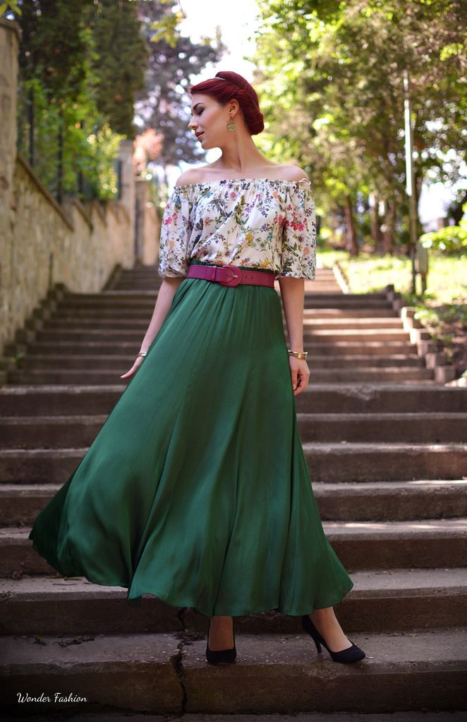 Silky green skirt
