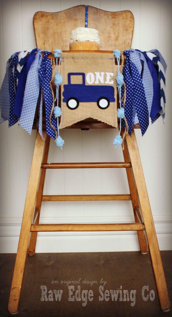 Little Blue Truck Highchair High Chair Birthday by RawEdgeSewingCo