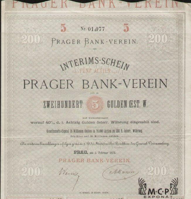 Muzeum cennych papiru A1722 PRAGER BANK-VEREIN 1872