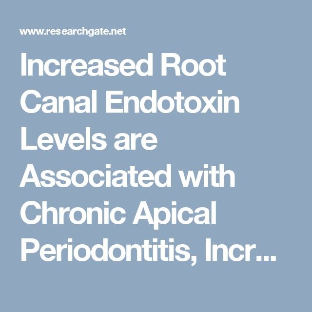 Increased Root Canal Endotoxin Levels are Associated with Chronic Apical Periodontitis, Increased Oxidative and Nitrosative Stress, Major Depression, Severity of Depression, and a Lowered Quality of Life. (PDF Download Available)