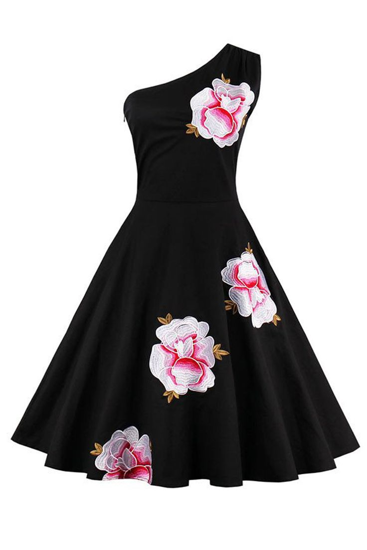 This Atomic Vintage Inspired One-shoulder Floral Embroidery Cocktail Dress is styled with delicate retro embroidery floral pattern, and a sexy one-shoulder design.  https://atomicjaneclothing.com/products/atomic-vintage-retro-one-shoulder-embroidery-floral-print-cocktail-party-swing-dress