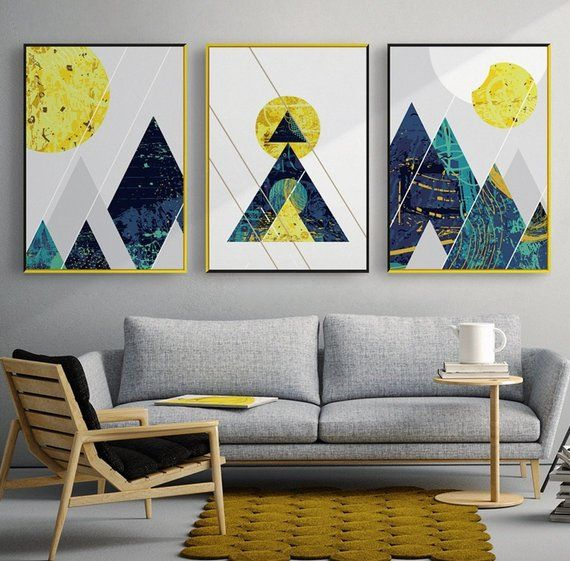 3 Piece Blue Yellow Geometric Shapes Abstract Large Canvas Wall Art Multiple Gift Canvas Print Art Fram Wall Art Canvas Painting Wall Canvas Wall Art Painting