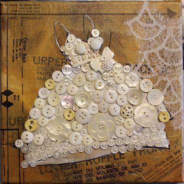button dress altered art