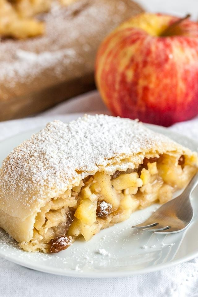 Apple Strudel is much easier to make from scratch than you think! This traditional Apfelstrudel has a flaky crust and is filled with juicy spiced apples.