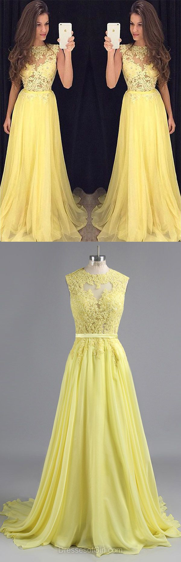 Yellow Formal Dresses, Graceful Scoop Neck Chiffon Party Gowns, Appliques Lace Daffodil Long Prom Dresses