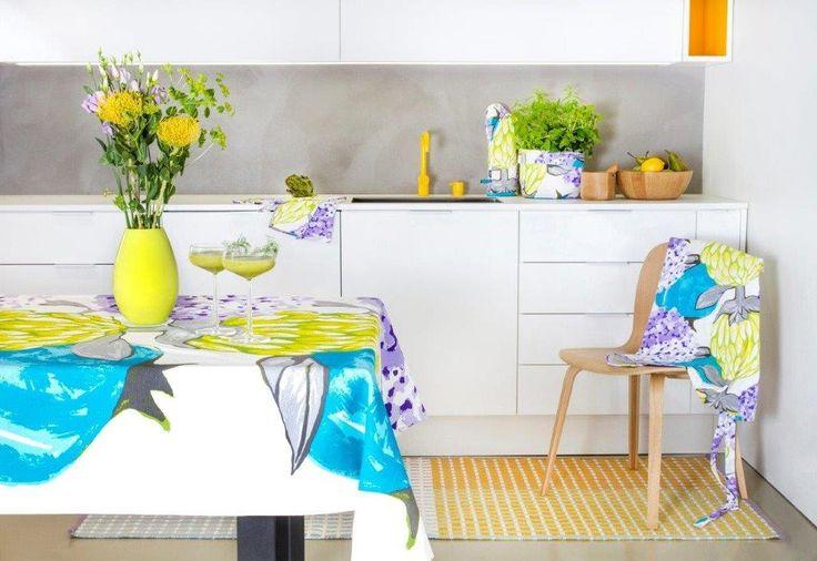 Vallila's Artisokka kitchen textiles and Punavuori rug