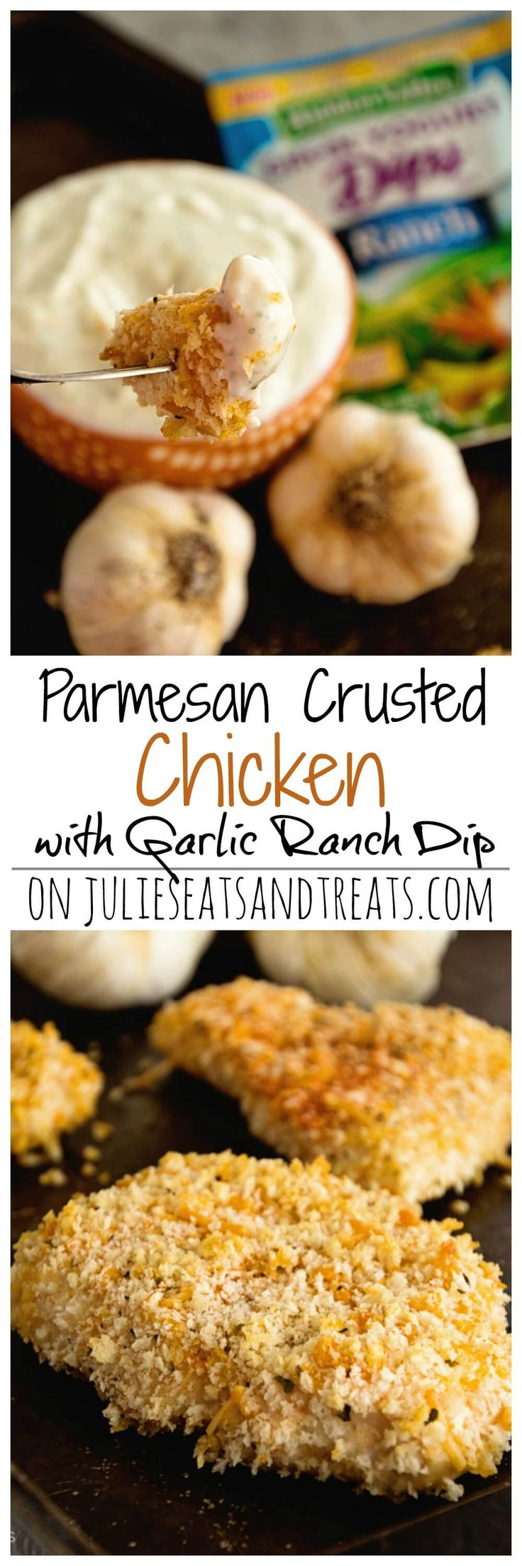 Parmesan Chicken with Creamy Garlic Ranch Dip ~ Crunchy Chicken coated in Panko and Parmesan Cheese and Homemade Creamy Garlic Ranch Dip! Perfect for a Quick & Easy Meal! ~ http://www.julieseatsandtreats.com
