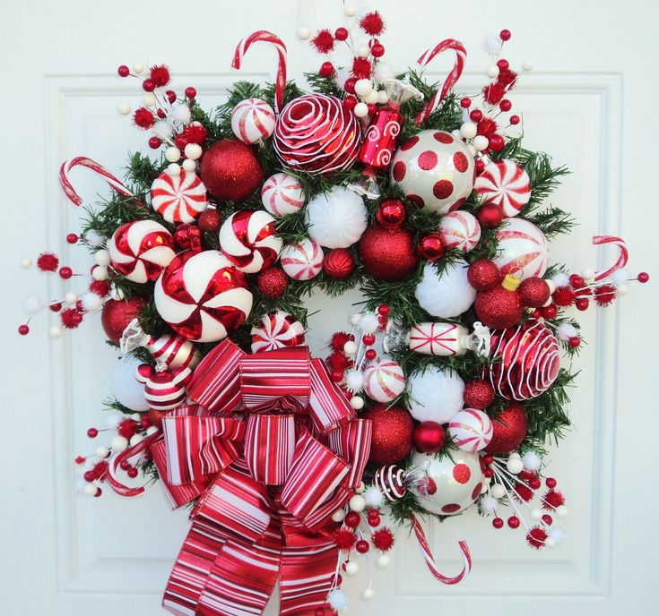 Disney Christmas Wreath Mickey Mouse Peppermint Red and White. $139.00, via Etsy.