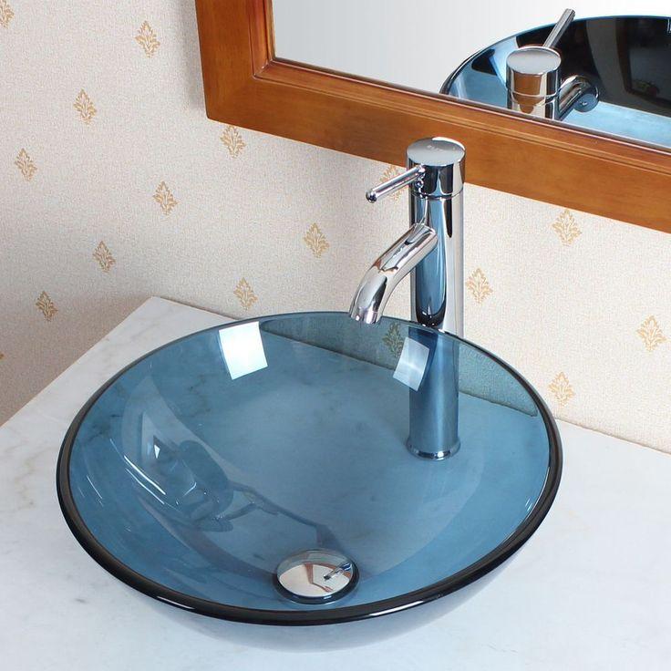 Details about bathroom clear blue glass vessel sink - Bathroom vessel sink vanity combo ...