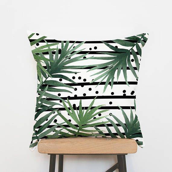 Palm pillow cover Tropical cushion cover, leaves pillowcase, cushion covers, decorative pillow, throw pillow, pillow shams, sofa pillows
