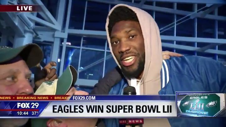Embiid crashes a live local TV station   #hoopsgalore #joelembiid #trusttheprocess #theprocess #embiid #sixers #eagles #philadelphiaeagles #philly #76ers #bensimmons #superbowl