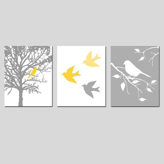 Nursery Art Prints Modern Bird Trio Set of Three 8x10 by Tessyla
